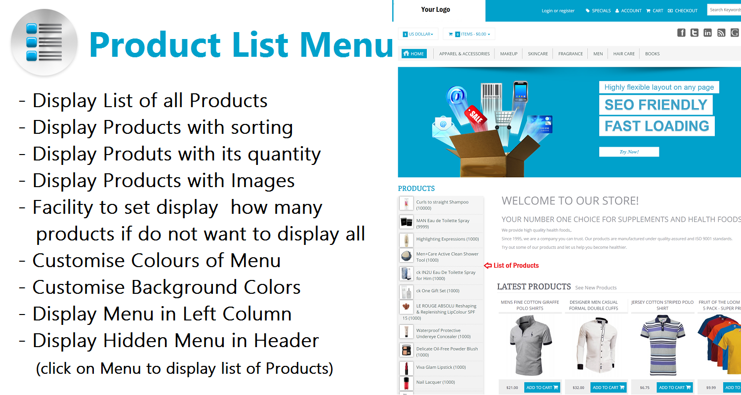 Product List Menu - Vertical