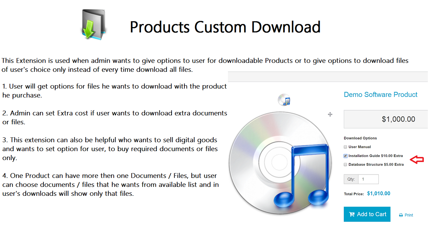 Product's Custom Downloads