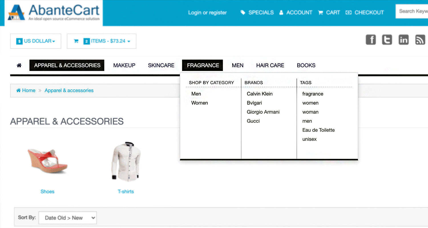 Shop By Categories Menu