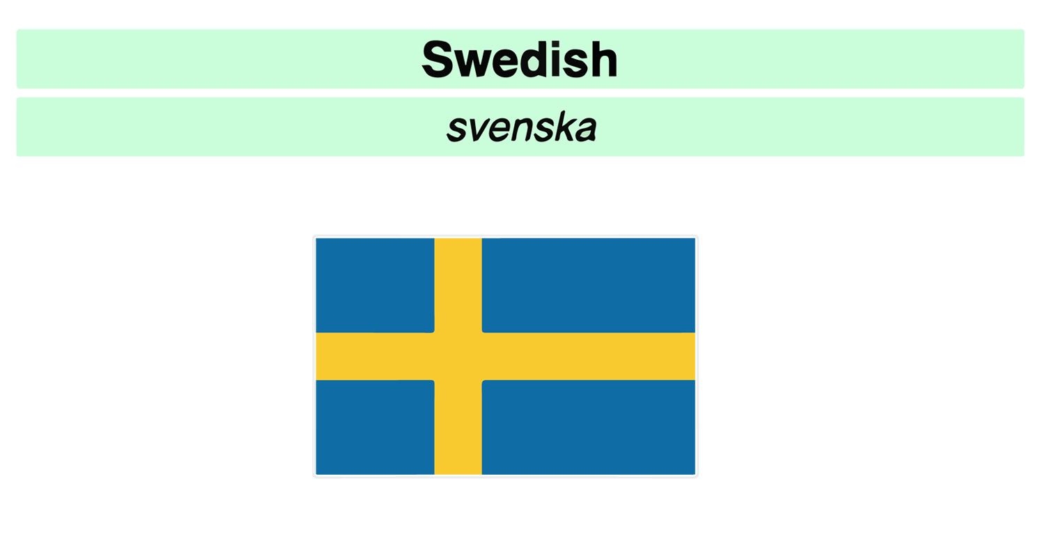 Swedish Svenska language